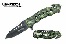 "Couteau Wartech Green Camo Quick Spring Assist Rescue Knife 4.75"" Closed"
