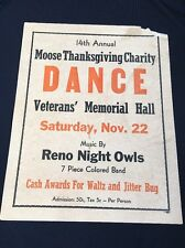 Original Vintage Charity Dance Poster  Reno Night Owls 7 Piece Colored Band