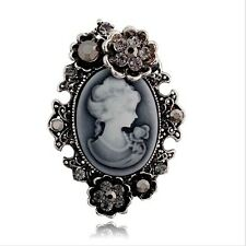 Antique Silver Vintage Flower Victorian Cameo Style Women Portrait Brooch Pin