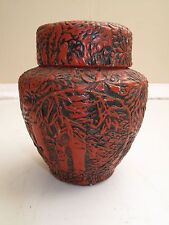 """VTG RED LACQUER DECORATED CHINESE TEA CADDY ORNATE GINGER JAR  5 3/8"""" HUMIDOR"""