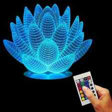 3D USB Lotus Flower Color Changing Lamp With Color Changing Wood Base LED Light