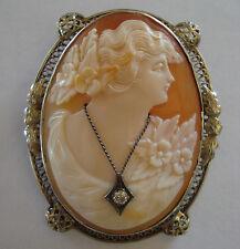 Lovely Signed Shell Goddess Flora Diamond Habille Cameo 14K White Gold Brooch