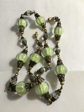 VINTAGE MURANO MINT GREEN BEAD GLASS CRYSTAL CREME SWIRL LAMP WORK NECKLACE MINT
