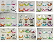 FR-031 Wholesale Jewelry lots 3 pairs Big Colorful Fashion Hoop Earrings