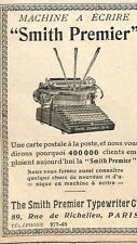 MACHINE A ECRIRE TYPEWRITER SMITH PREMIER PARIS RUE DE RICHELIEU PUBLICITE 1908
