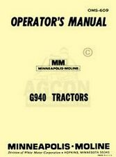 Minneapolis Moline G940 G-940 Operators Owners Manual