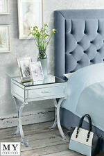 Barcelona style Mirrored and Chrome Bedside Table - AURELIA