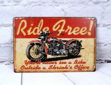 Antique Metal Tin Signs Ride Free Motorcycle Poster Home Garage Wall Decor