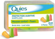 6 X QUIES PROTECTION AUDITIVE EARPLUGS FOAM - 3 PAIRS