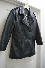 Wilsons Black Double Breasted Leather Coat Jacket Men's Size Small