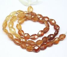 "Natural Hessonite Shaded Garnet Faceted Oval Gemstone Beads Strand 13"" 7mm 8mm"