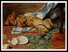 DACHSHUND NAUGHTY DOG PULLS CLOTH FROM TABLE LOVELY VINTAGE STYLE PRINT POSTER