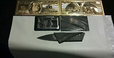 ~3Pc.Mixed~Lot~.999 Gold $100 Banknote Rep.*&11 In 1 Survival Wallet-Tool&Knife!