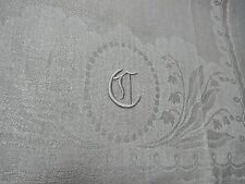 "VINTAGE DAMASK  LILY OF VALLEY MONOGRAMMED C LINEN HUCK GUEST TOWEL 30"" CLEAN"