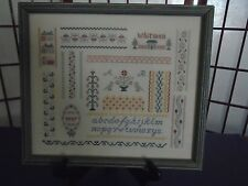 Large Completed Needlepoint Sampler Whitman Country Primitive Framed