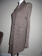❤️Heather Brown Ribbed Open Front Cardigan Cardi Knit Top Cotton Blnd Lng Slv L