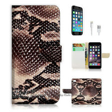"""iPhone 6 (4.7"""") Print Flip Wallet Case Cover! Snake Skin Leather P1445"""