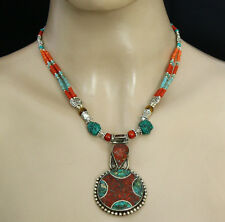 Sterling Silver Necklace Pendant Tribal Tibetan Turquoise Jewelry Nepalese 01