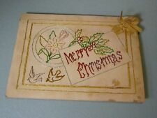 Hand Stitched Victorian Merry Christmas Greeting Card Madonna Flower Inside