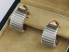 BVLGARI --- Parentesi Stainless Steel & Yellow Gold Earrings