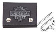 Harley-Davidson Men's Embroidered B&S Medium Trucker Biker Wallet XML8712-GRYBLK