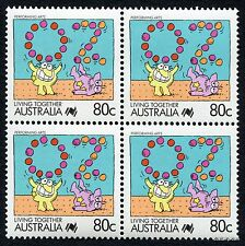 1988 Living Together Performing Arts Block of Four MUH Mint Stamps Australia