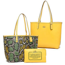 Coach Bag F37676 Snake Print Reversible City Tote Canary Multicolor Agsbeagl COD