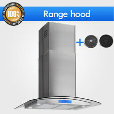 "30"" GLASS STAINLESS STEEL ISLAND MOUNT RANGE HOOD Stove Vent+ Free Carbon Filter"