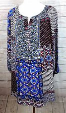 ZAC & RACHEL WOMEN PLUS SIZE 3X CHIFFON BLUE RED FLORAL TUNIC TOP BLOUSE SHIRT