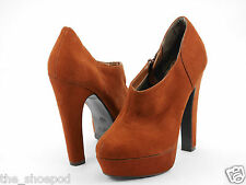 New Look Faux Suede Brown Ankle Boots Shoes with Platform UK Size 5 ( Euro 38 )