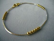 "NEW ITALY 925 STERLING SILVER ANKLE BRACELET- 10""-TWO TONE-SQ SNAKE w/GOLD BEADS"