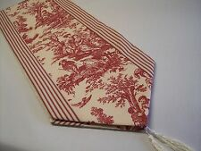 "72"" RED ON CREAM~WAVERLY Country Life Toile/TICKING~Lined Tablerunner!! Tassels!"
