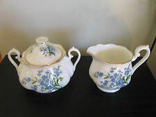 Royal Albert Blue Forget Me Not Creamer and Covered Sugar Bowl