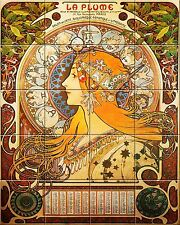 "Ceramic tile mural Art Nouveau 4.25"" Each Tile Alphonse Mucha Reproduction #005"