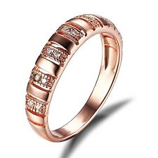 Unique Wedding Band Ring Cubic Zirconia 925 Sterling Silver  Gold Plated Size 7