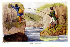 ENGLISH GENTLEMEN FLY FISHING, FISHERMEN WITH POLES & FISH BASKETS ANTIQUE PRINT