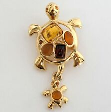 MONET signed cabochons rhinestones turtle pin brooch with dangling turtle