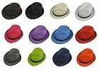 Fedora Hat Fashion Unisex Trilby Cap Summer Beach Sun Straw Panama in 12 Colors