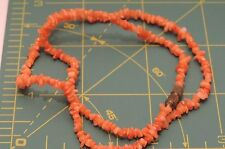 "Dainty Vintage Salmon Peach Coral Chip Bead strand 16.5"" Necklace Fa 51"
