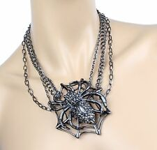 Huge Spider Crystal Necklace Pendant With Spider Earring Gothic Halloween