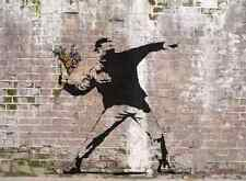 Banksy Love is riot flowers Wall A2 Box Canvas Print