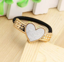 Girl's Heart Shape Matte Hair Ring Rope Wrap Ponytail Holder Rubber Band White