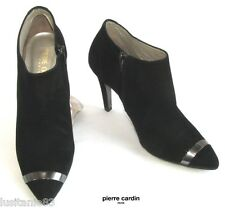 PIERRE CARDIN - BOOTS HEELS 10 CM ALL LEATHER BLACK VELVET 39 - NEW