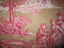 Gorgeous Pierre Deux Versailles Red Pink Taupe Sand French Country Toile Fabric