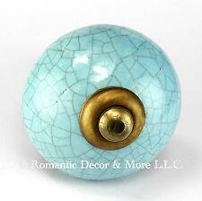 8 Blue Crackle Ceramic Knobs Cabinet Drawer Pulls Furniture Hardware #C13RR-2nds