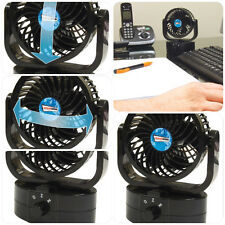 Black Compact Portable Travel Cold Air Fan for Desk, Worktop, Office, Car & Home