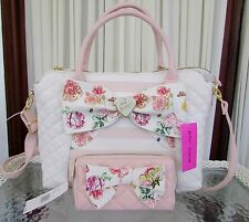 Betsey Johnson Pearl of a Girl Floral Bow Satchel Crossbody Wallet Set Blush NWT