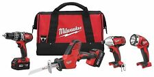 NEW MILWAUKEE 2695-24 M18 18 VOLT 4 TOOL CORDLESS TOOL SET DRILLS & SAW LIGHT