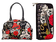 Banned Skulls & Roses Handbag & Wallet SET Rockabilly Gothic Bag Black Red