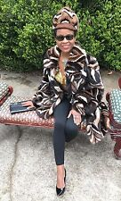 Designer Swing Sable hue multicolor Mink Fur coat jacket + Free hat S-L 2-12